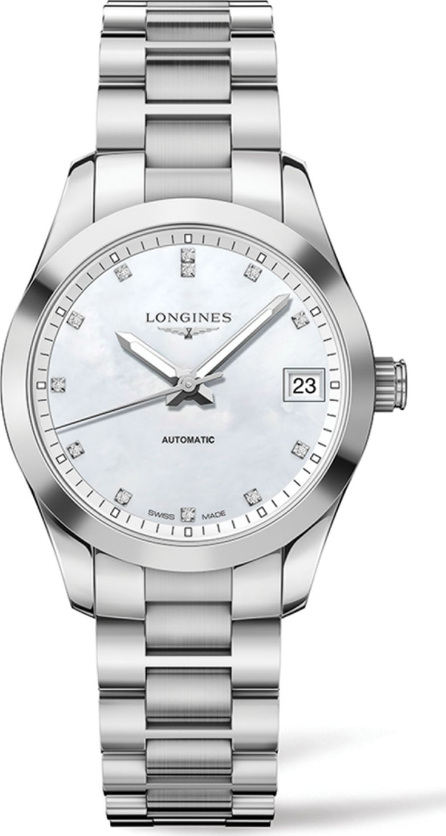 Longines Conquest Classic Diamond, Mother-Of-Pearl & Stainless Steel Watch