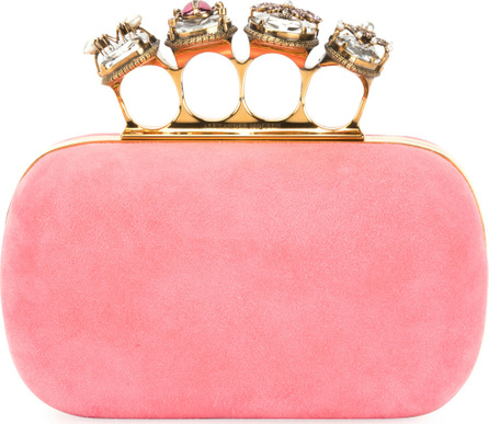 Alexander McQueen Suede Four-Ring Knuckle Box Clutch Bag