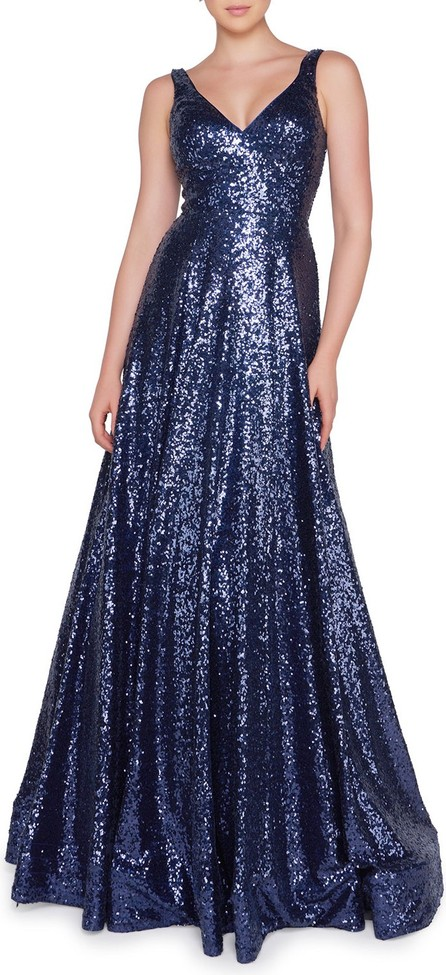 Ieena for Mac Duggal Sequined V-Neck Sleeveless Ball Gown