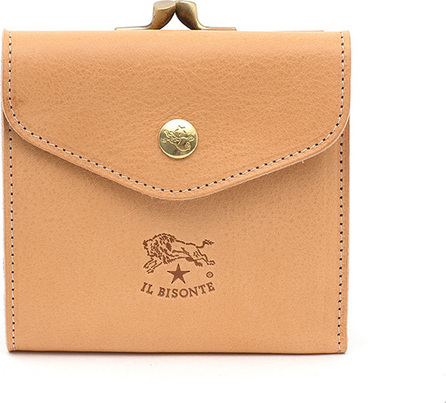 Il Bisonte Leather Snap and Flap Wallet, Beige