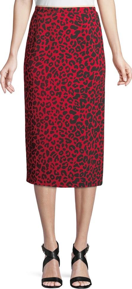Nº21 Leopard-Print Striped Midi Skirt