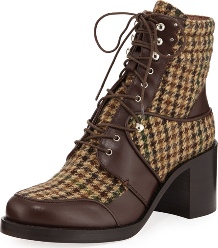 Tabitha Simmons Leo Houndstooth Lace-Up Mixed Booties