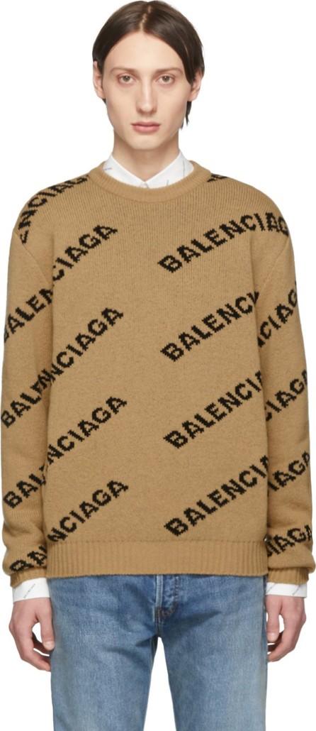 Balenciaga Beige & Black Jacquard Logo Sweater