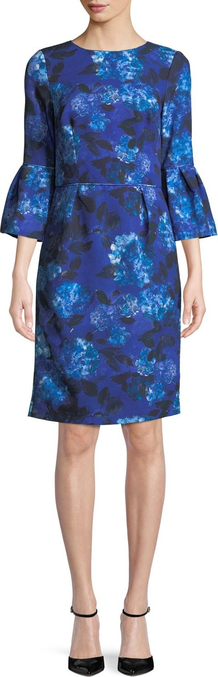 David Meister Jewel-Neck Bell-Sleeve Floral-Print Crepe Sheath Cocktail Dress
