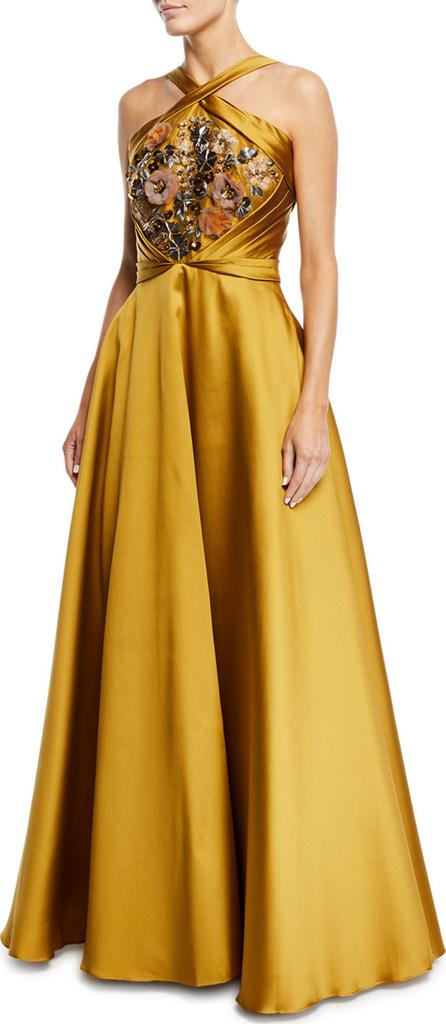 Marchesa Notte Crisscross Halter Beaded Ball Gown