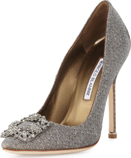 1d27a5294b0c7 Manolo Blahnik Hangisi Crystal-Buckle Shimmery 115mm Pump, Gold