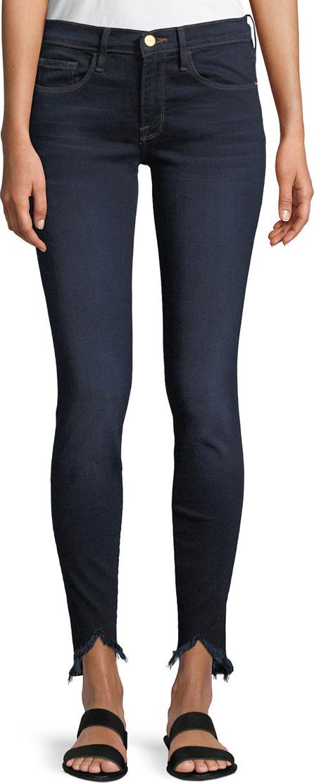 FRAME DENIM Sweetheart Dark-Wash Skinny Jeans w/ Raw-Edge Hem