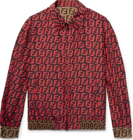 Fendi Reversible Logo-Print Silk Blouson Jacket
