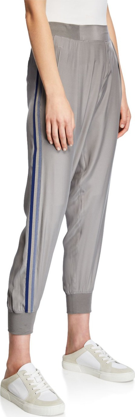 ATM Anthony Thomas Melillo Silk Pull-On Jogger Pants w/ Side Stripes