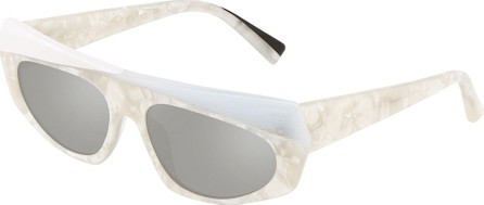 Alain Mikli Pose Mixed Acetate Shield Sunglasses