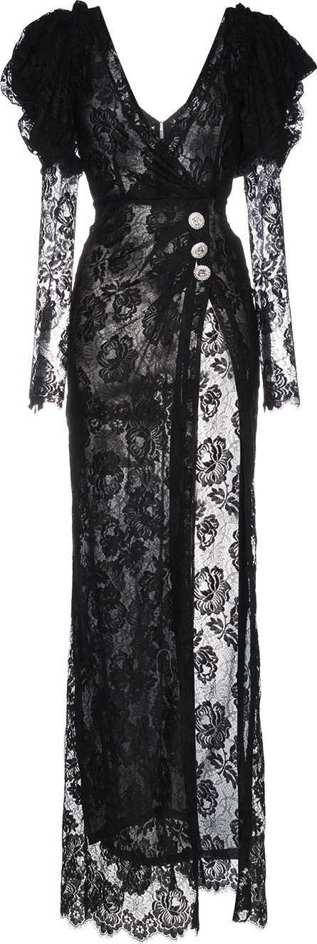 Alessandra Rich V-neck lace ruffle sleeve slit gown