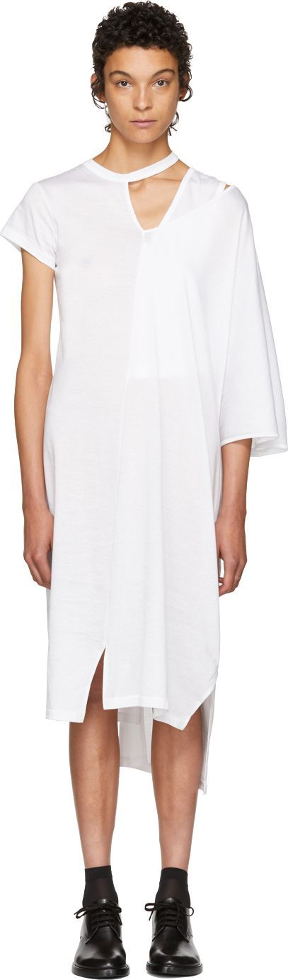 FACETASM White Asymmetric Mantle T-Shirt Dress