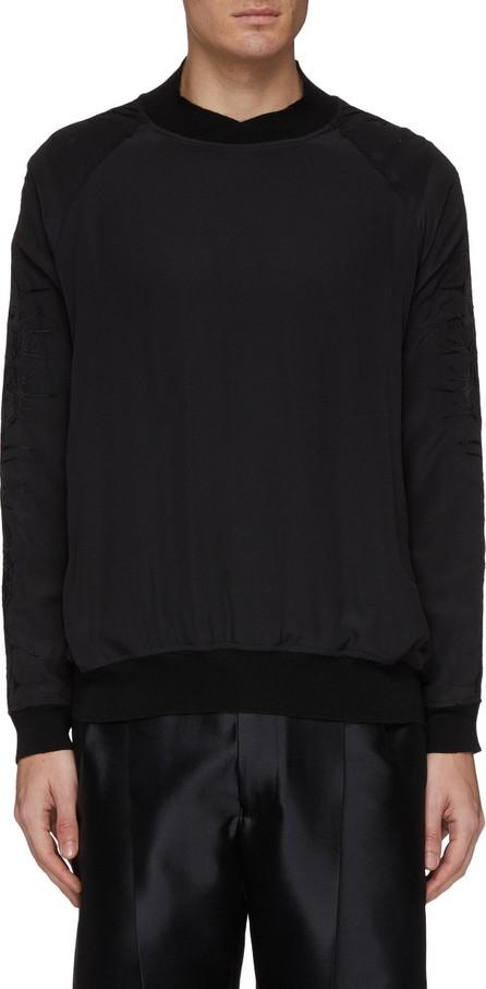 Haider Ackermann Thorn embroidered sleeve silk raglan sweatshirt