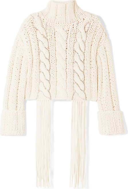 Area Cropped tasseled crystal-embellished cable-knit cotton-blend sweater