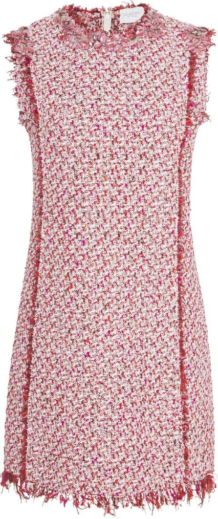 Giambattista Valli V-neck lace-trimmed silk-georgette dress in Red - mkt e03afb870