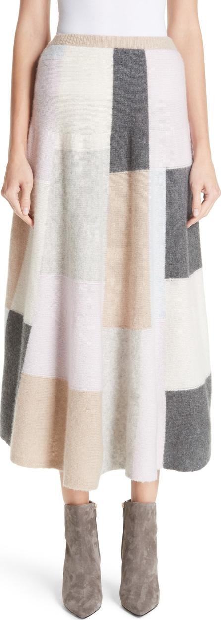 Adam Lippes Patchwork Cashmere & Silk Skirt
