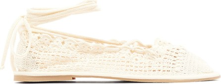 Alexachung Crochet lace-up ballet flats