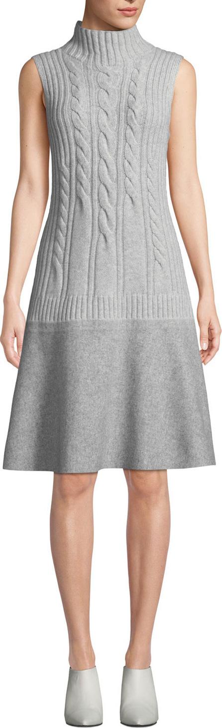 Lafayette 148 New York Turtleneck Sleeveless Cable-Knit Cashmere Dress w/ Needle Punch Hem