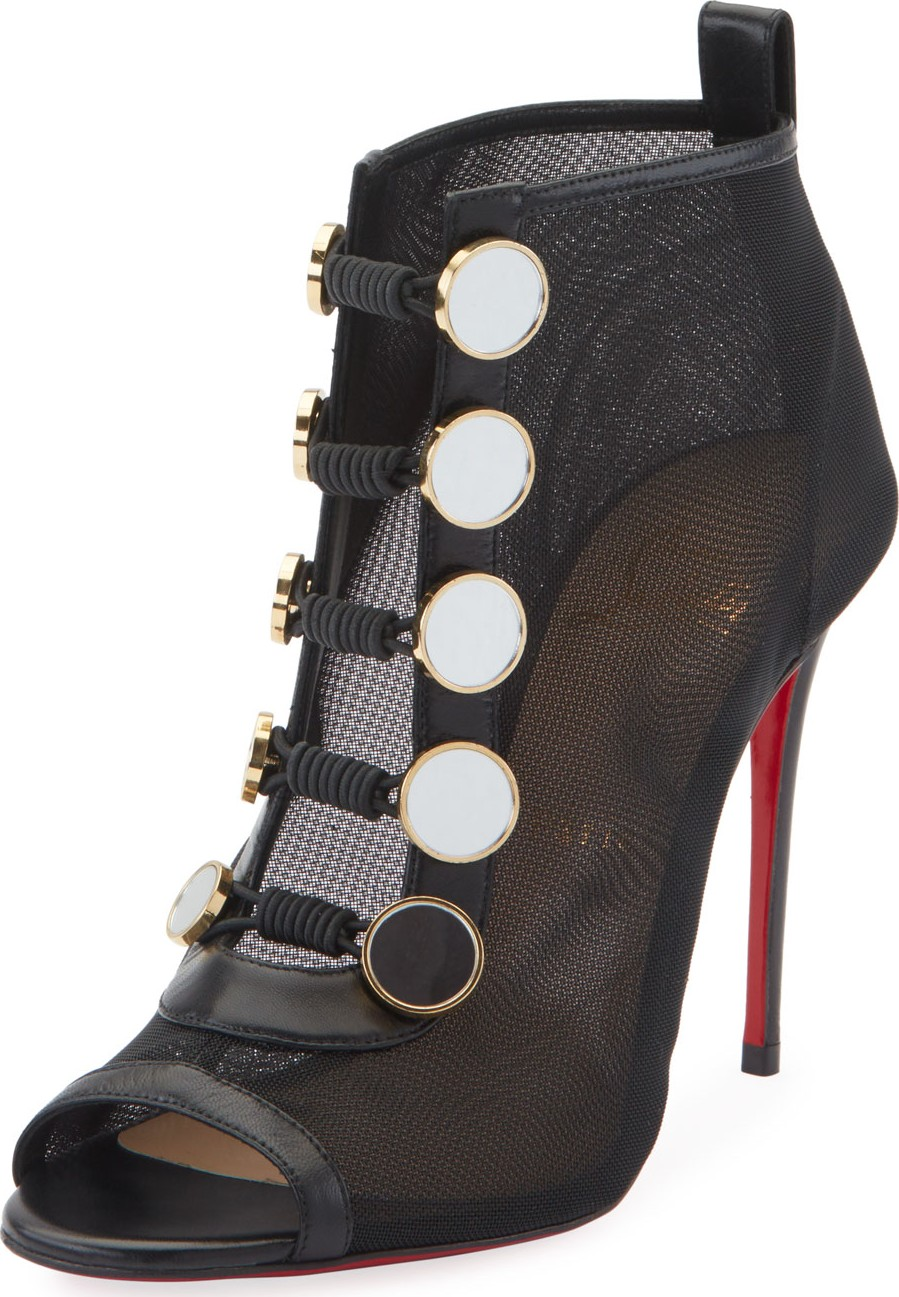 best service 700fc 7ab89 Christian Louboutin Marikat Open-Toe Toggle Red Sole Booties ...