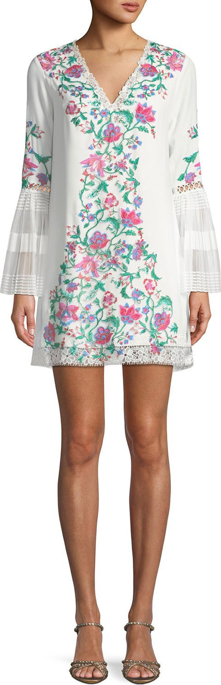 Tadashi Shoji Koa Floral Embroidered Crepe Dress