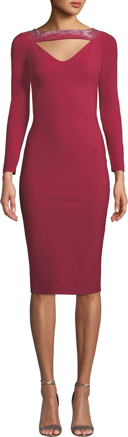 La Petite Robe di Chiara Boni Cayetana V-Neck Cutout & Embellished Dress