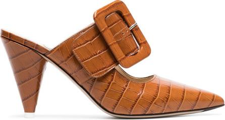 Attico Brown croc-effect leather mules