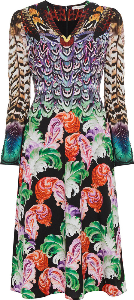 Mary Katrantzou Pheasant Printed Silk V Neck Dress