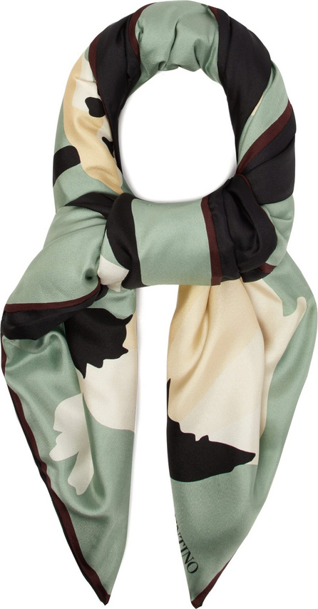 Valentino Flower-print padded silk scarf