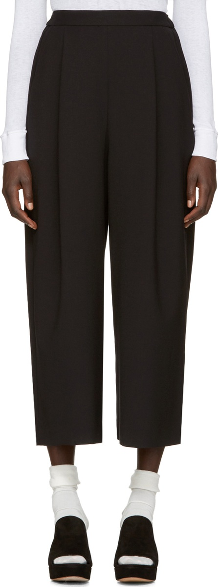 Enfold Black Wide-Leg Cropped Trousers