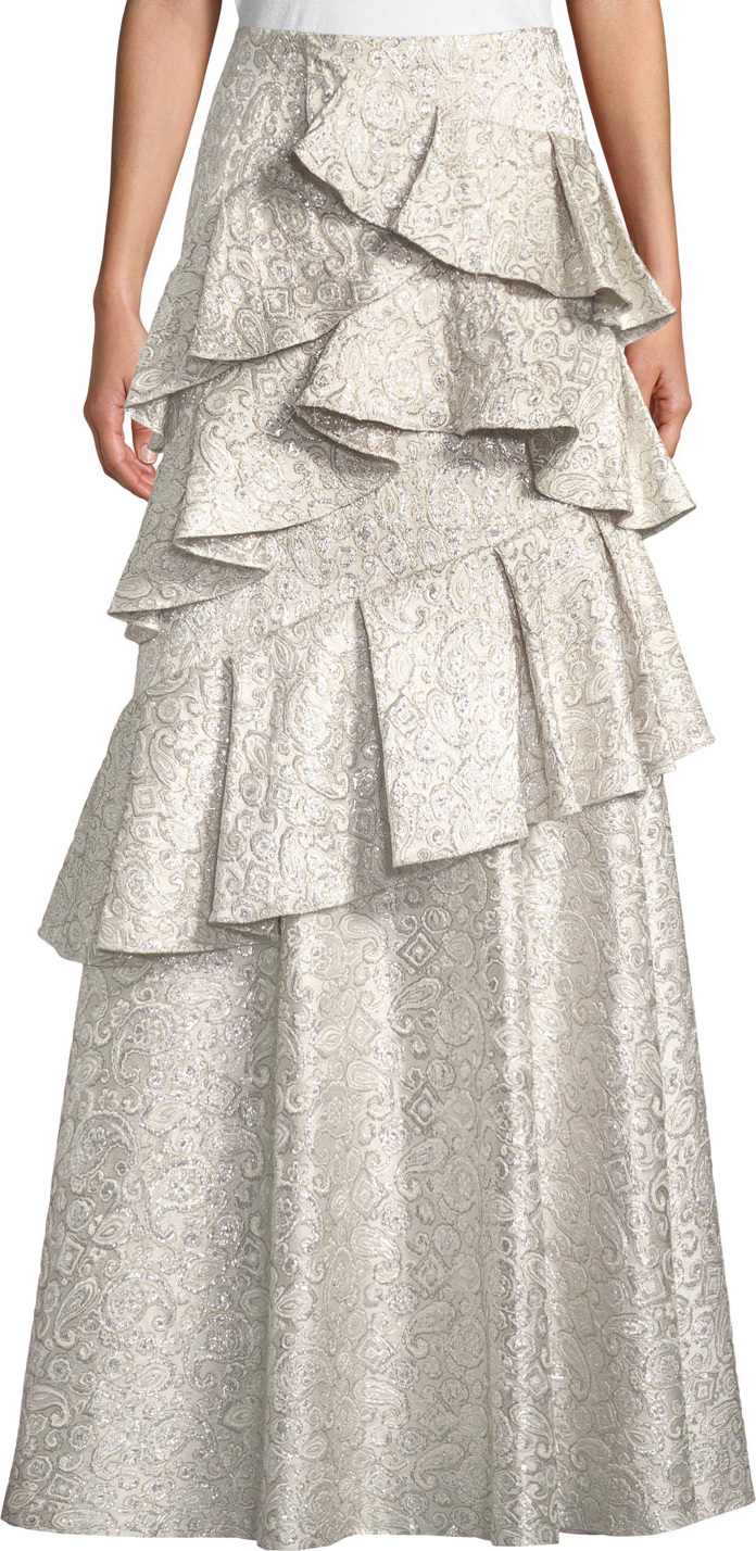 Alice + Olivia Flossie Ruffle Tiered Ball Gown Skirt in White - mkt