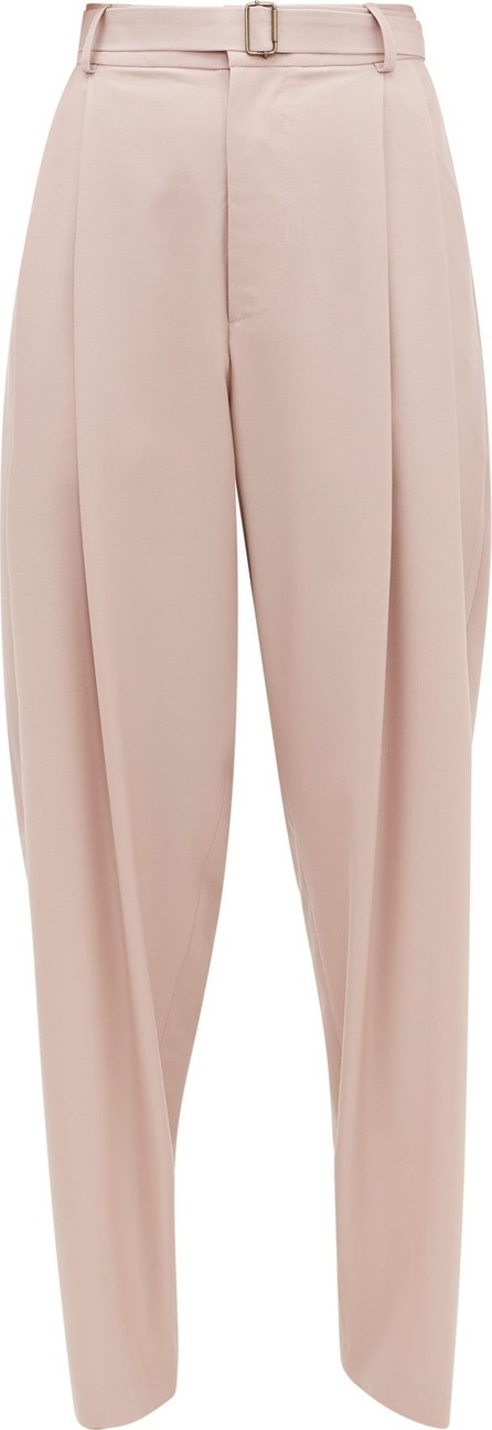 Edward Crutchley Belted wool-crepe wide-leg trousers