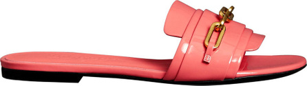 Burberry London England Link Detail Patent Leather Slides