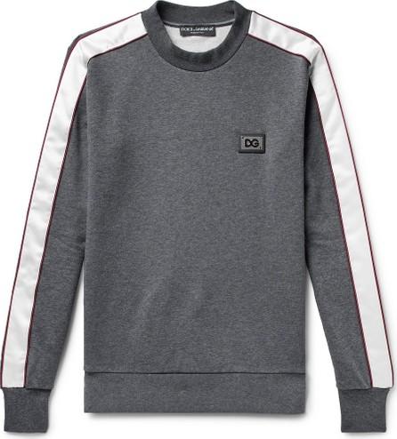 Dolce & Gabbana Satin-Trimmed Logo-Appliquéd Loopback Cotton-Jersey Sweatshirt