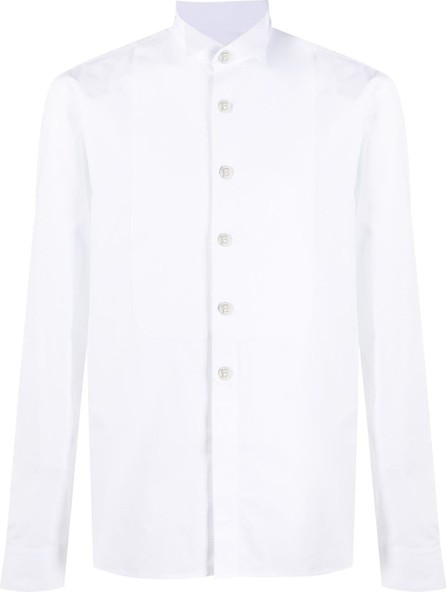 Balmain Spread collar bib shirt