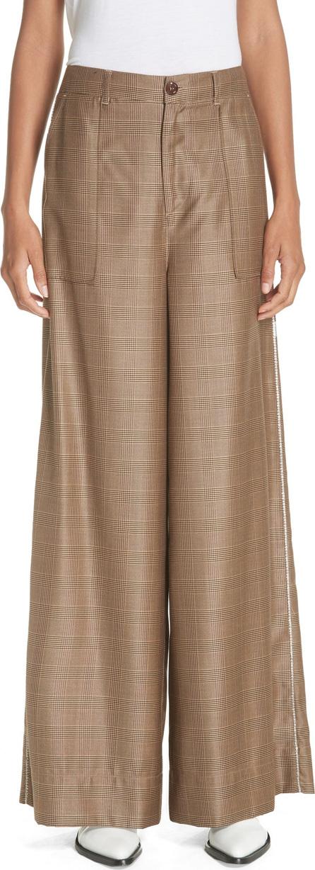 Ganni Merkel Glen Plaid Wide Leg Silk & Wool Pants