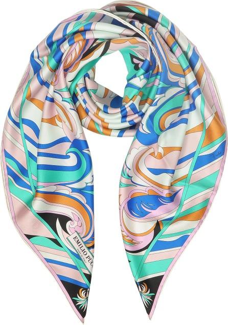 Emilio Pucci Floral Printed Twill Silk Square Scarf