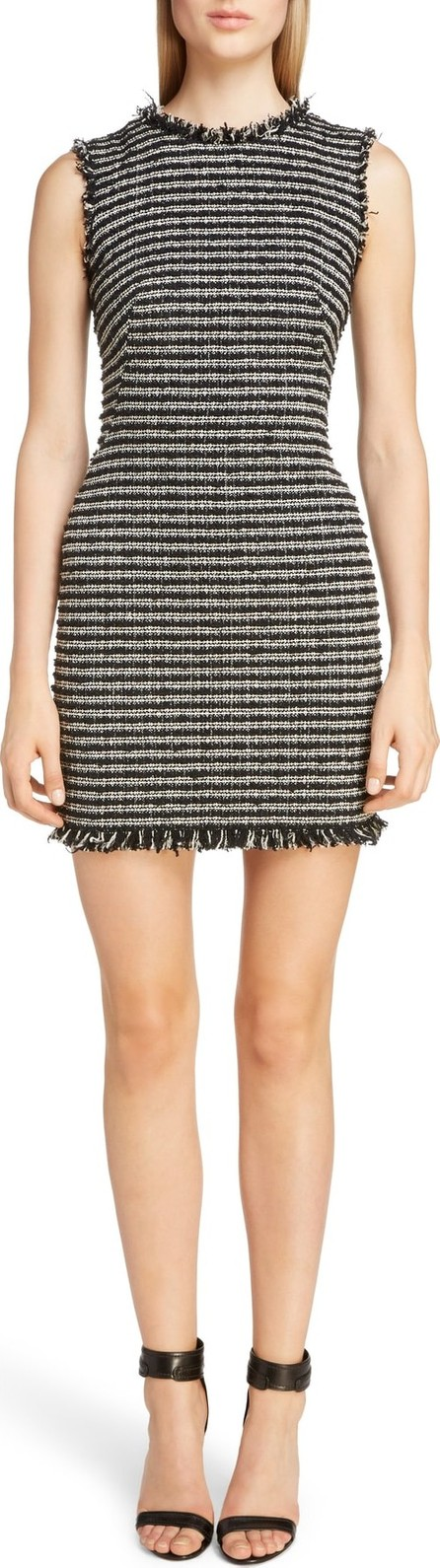 Alexander McQueen Frayed Tweed Minidress