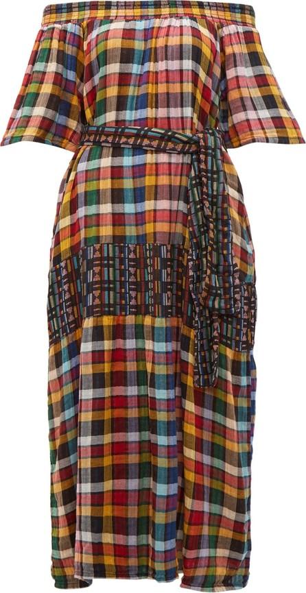 ace&jig Casa off-the-shoulder checked cotton maxi dress