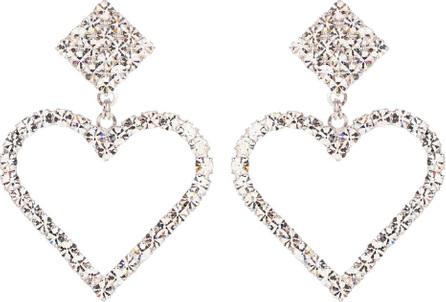 Alessandra Rich Crystal heart clip-on earrings