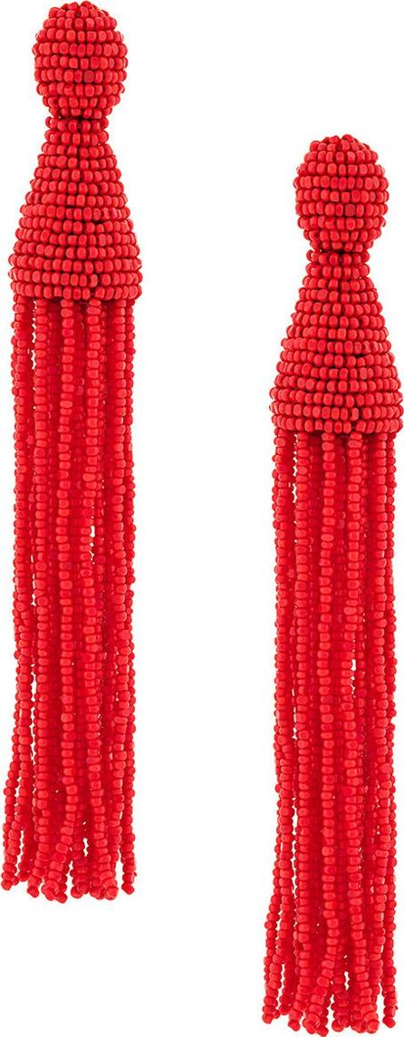Oscar De La Renta long beaded tassel earrings