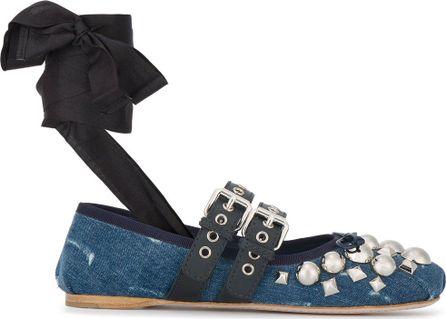 Miu Miu embellished denim ballerina pumps