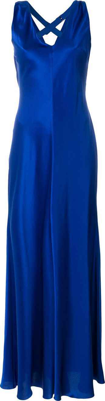Alberta Ferretti Deep V-neck slip gown