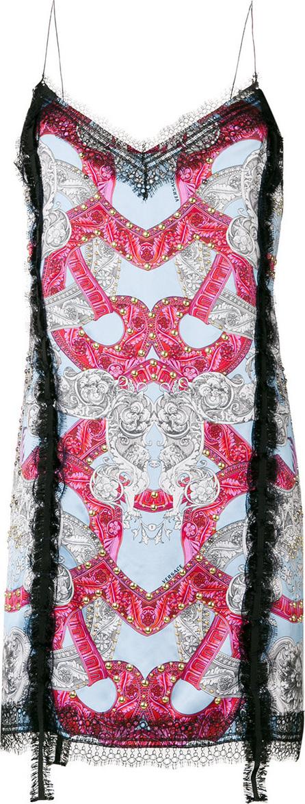 Versace Patterned lace trim slip dress