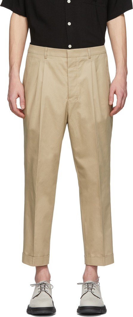 AMI Beige Twill Carrot-Fit Trousers