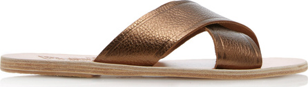 Ancient Greek Sandals Thais Metallic Leather Slides