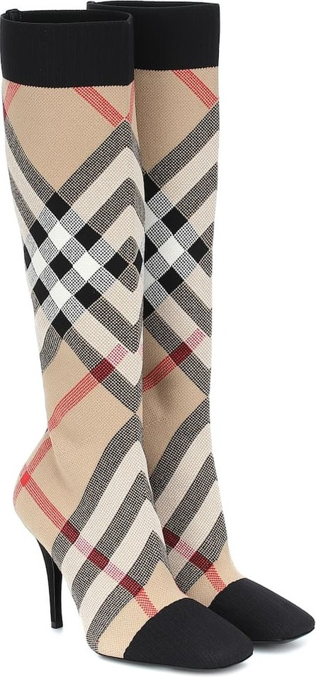 Burberry London England Vintage Check knee-high sock boots