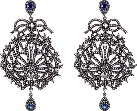 Aishwarya Diamond kyanite gold alloy fretwork drop earrings