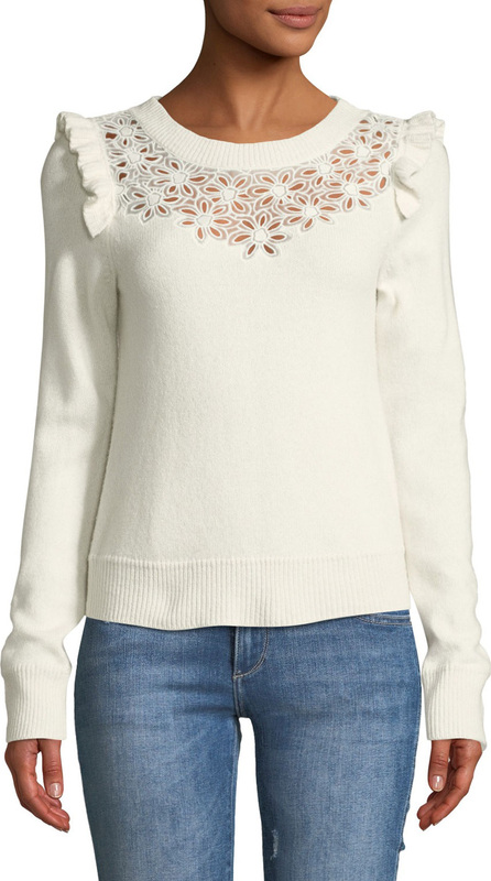Rebecca Taylor Emilie Floral Embroidered Pullover Sweater