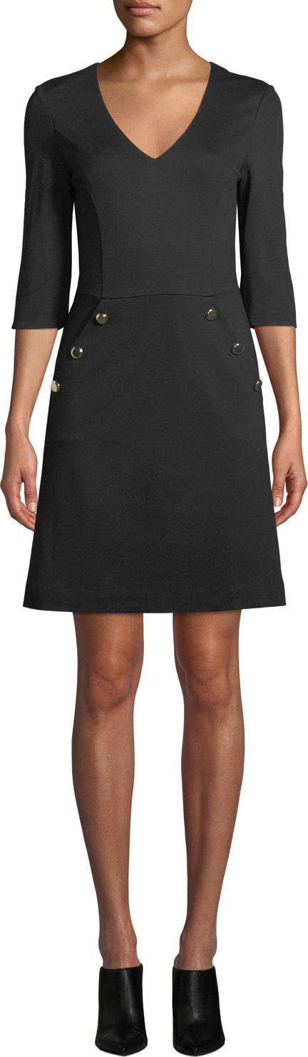 Trina Turk Valentina V-Neck Dress w/ Button Details