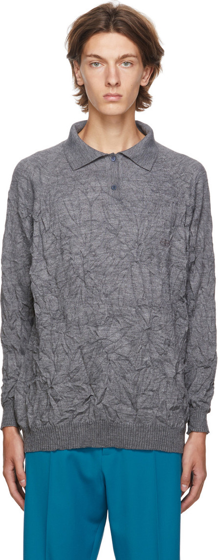 Balenciaga Grey Crinkled Wool Sweater